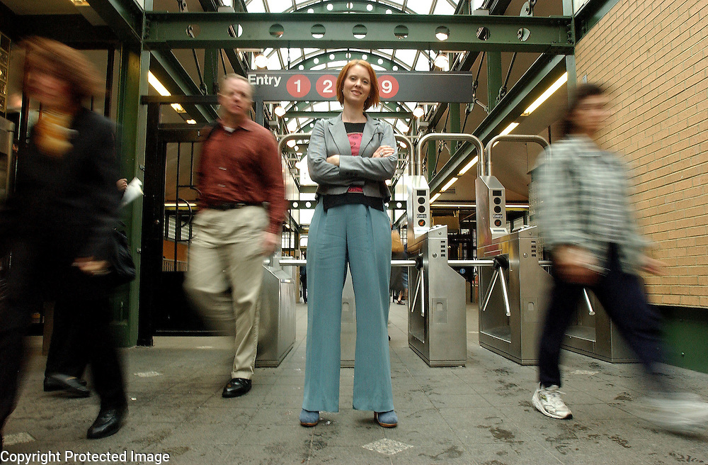 Actress Cynthia Nixon, who stars in Sex and The City , is seen in a subway station on the Upper West Side in Manhattan, NY. 9/3/2003 Photo by Jennifer S. Altman