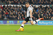 Derby County midfielder Jacob Butterfield strikes at goal during the EFL Sky Bet Championship match between Derby County and Wigan Athletic at the iPro Stadium, Derby, England on 31 December 2016. Photo by Aaron  Lupton.