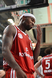 06.06.2013, Stechert Arena, Bamberg, GER, 1. BBL, 5. Playoff Halbfinale, Brose Baskets Bamberg vs FC Bayern Muenchen, im Bild Tyrese RICE (FC Bayern Muenchen) wirkt frustriert/ enttaeuscht, und wischt sich mit der Hand den Mund ab, nach einer vergebenen Chance zu punkten. Emotion, Portrait/ Portraet // during the 5th playoff semifinal match of germans 1st basketbal Bundesliga between Brose Baskets Bamberg and FC Bayern Munich ath the Stechert Arena, Bamberg, Germany on 2013/06/06. EXPA Pictures © 2013, PhotoCredit: EXPA/ Eibner/ Matthias Merz<br /> <br /> ***** ATTENTION - OUT OF GER *****