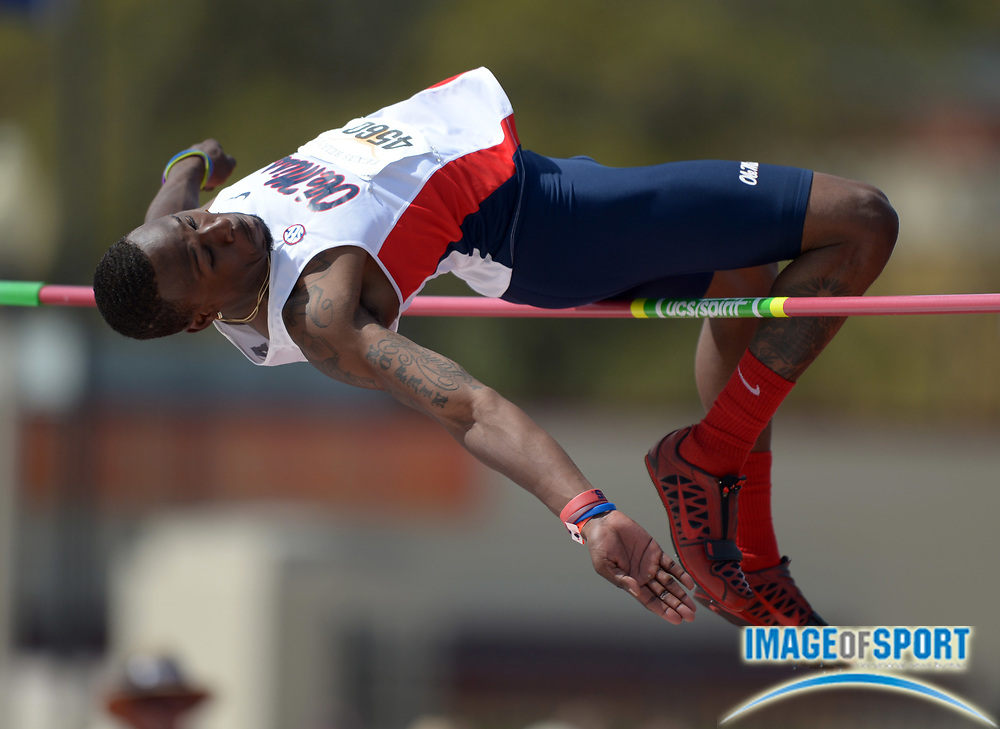 Mar 29, 2014; Austin, TX, USA; Ricky Robertson of Mississippi wins the high jump at 7-6 (2.29m) in the 87th Clyde Littlefield Texas Relays at Mike A. Myers Stadium.
