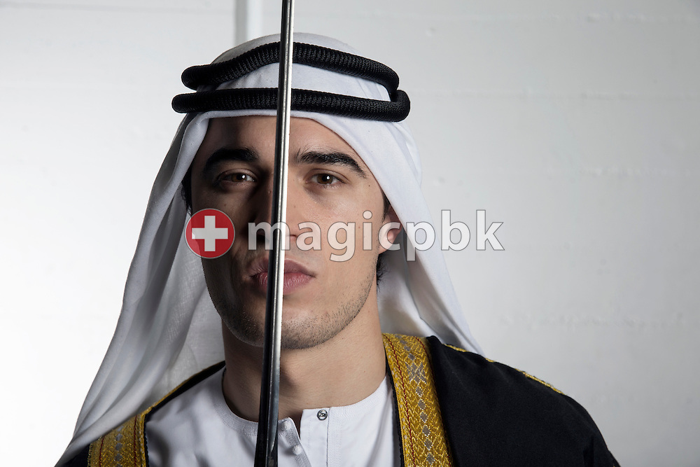 Epee fencer Max HEINZER of Switzerland poses in a sheik dress with his epee during a portrait photo session at the training facility of the Zuercher Fechtklub in Zurich, Switzerland, Monday, Jan. 14, 2013. (Photo by Patrick B. Kraemer / MAGICPBK)