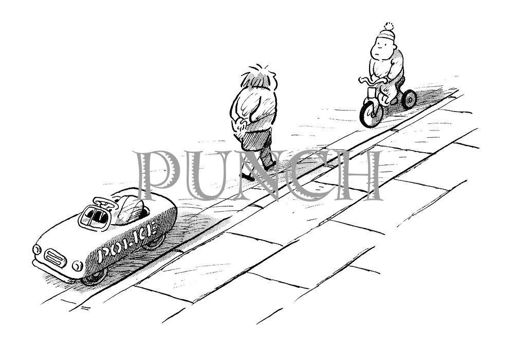 (A little boy leaves his child-sized police car and marches up to another little boy behind him riding tricycle who has committed a traffic offence))