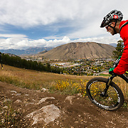 Andrew Whiteford rides the Sink or Swim Trail singletrack off of Snow King Ski Area in Jackson, Wyoming.