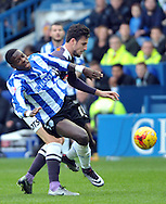 Lucas Joao of Sheffield Wednesday feels the challange from George Thorn of Derby County during the Sky Bet Championship match at Hillsborough, Sheffield<br /> Picture by Graham Crowther/Focus Images Ltd +44 7763 140036<br /> 06/12/2015