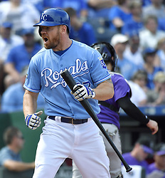 August 24, 2017 - Kansas City, MO, USA - Kansas City Royals designated hitter Brandon Moss reacts to striking out to end the eighth inning during Thursday's baseball game against the Colorado Rockies at Kauffman Stadium in Kansas City, Mo. (Credit Image: © John Sleezer/TNS via ZUMA Wire)