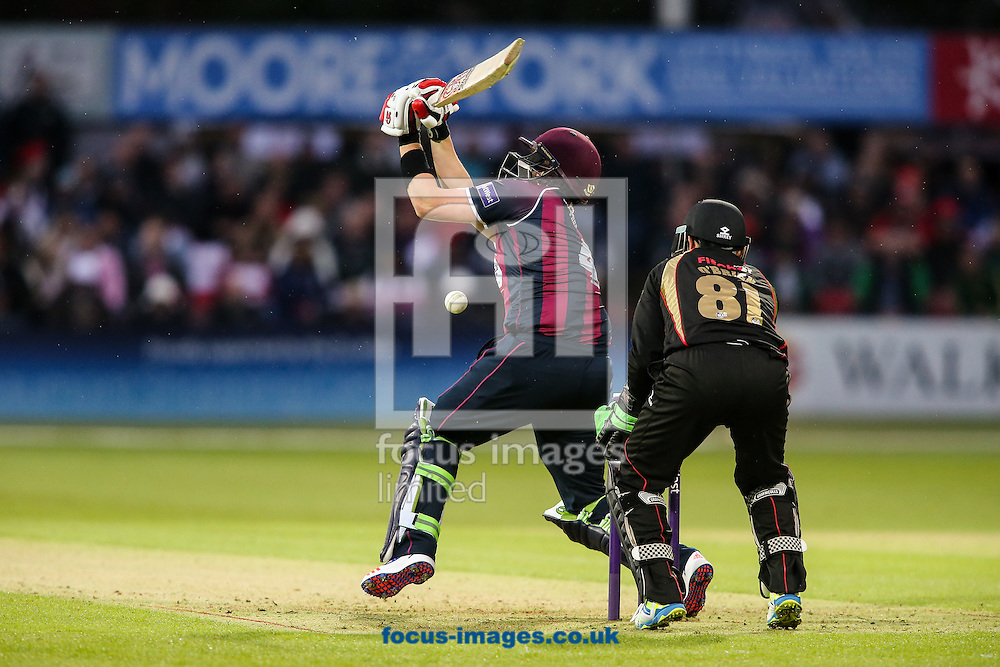 Josh Cobb of Northants Steelbacks (left) is trapped lbw by a ball from Jigar Naik of Leicestershire Foxes (not shown) during the Natwest T20 Blast match at Grace Road, Leicester<br /> Picture by Andy Kearns/Focus Images Ltd 0781 864 4264<br /> 20/05/2016