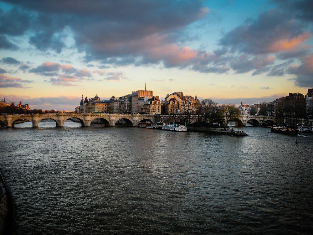 Paris Bridge at sunset.