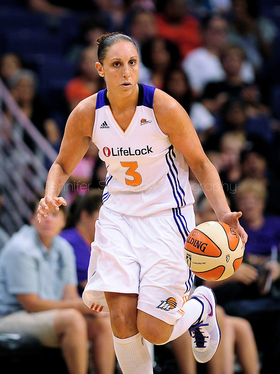 Sep 3, 2011; Phoenix, AZ, USA; Phoenix Mercury guard .Diana Taurasi (3) reacts on the court while playing against the Los Angeles Sparks at the US Airways Center.  The Mercury defeated the Sparks 93-77. Mandatory Credit: Jennifer Stewart-US PRESSWIRE.