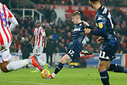 Leeds United forward Jack Clarke (47)  shoots during the EFL Sky Bet Championship match between Stoke City and Leeds United at the Bet365 Stadium, Stoke-on-Trent, England on 19 January 2019.