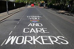 © Licensed to London News Pictures. 15/05/2020. London, UK.  A 'THANK YOU NHS AND CARE WORKERS' sign on a north London road to show appreciation for the efforts of  NHS staff, carers and key workers during the COVID-19 pandemic. Photo credit: Dinendra Haria/LNP