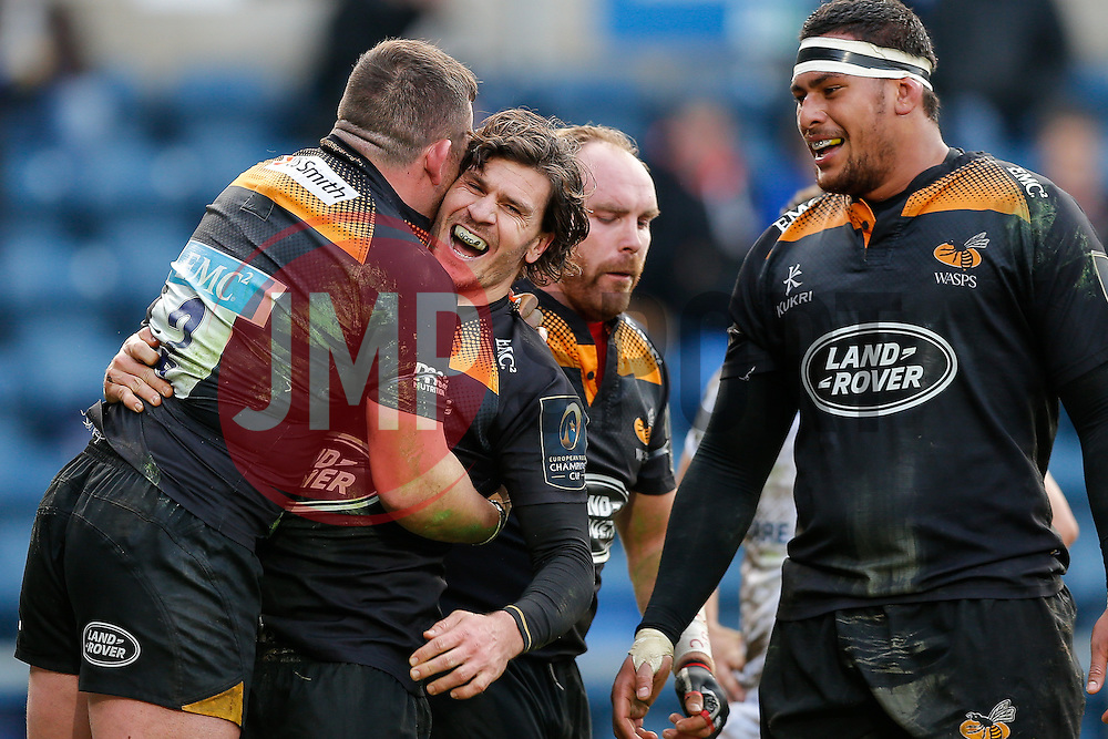 Wasps Outside Centre Ben Jacobs celebrates with Hooker Edd Shervington after scoring a try - Photo mandatory by-line: Rogan Thomson/JMP - 07966 386802 - 14/12/2014 - SPORT - RUGBY UNION - High Wycombe, England - Adams Park Stadium - Wasps v Castres Olympique - European Rugby Champions Cup Pool 2.