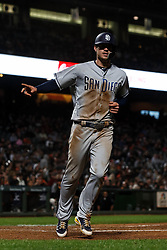 SAN FRANCISCO, CA - SEPTEMBER 24: Wil Myers #4 of the San Diego Padres celebrates after scoring a run against the San Francisco Giants during the sixth inning at AT&T Park on September 24, 2018 in San Francisco, California. The San Diego Padres defeated the San Francisco Giants 5-0. (Photo by Jason O. Watson/Getty Images) *** Local Caption *** Wil Myers