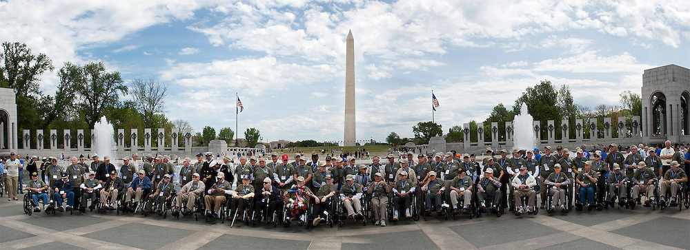 A group of World War II veterans from South Carolina gather at the World War II Memorial in Washington, DC in 2012 through the efforts of Honor Flight.