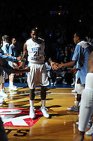 North Carolina forward Deon Thompson #21 during pregame intruductiions at the 2K Sports Classic at Madison Square Garden. (Mandatory Credit: Delane B. Rouse/Delane Rouse Photography)