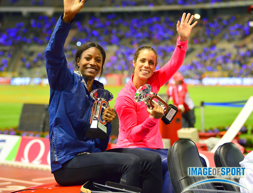 Shaunae Miller-Uibo (BAH) and Katerina Stefanidi (GRE) pose with the IAAF Diamond League women's 400m and pole vault trophies during the 42nd Memorial Van Damme at King Baudouin Stadium in Brussels, Belgium on Friday, September 1, 2017. (Jiro Mochizuki/Image of Sport)
