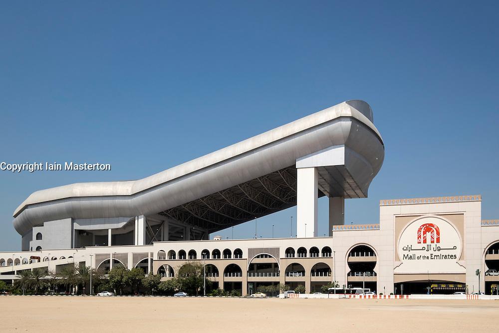 Exterior view of Ski Dubai indoor ski slope  at Mall of the Emirates in Dubai United Arab Emirates