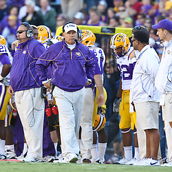 November 6, 2010; Baton Rouge, LA, USA;  LSU Tigers head coach Les Miles walks the sideline during the first half against the Alabama Crimson Tide at Tiger Stadium.  Mandatory Credit: Derick E. Hingle
