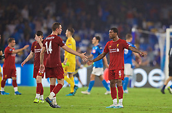 NAPLES, ITALY - Tuesday, September 17, 2019: Liverpool's captain Jordan Henderson (L) and Georginio Wijnaldum shake hands after the UEFA Champions League Group E match between SSC Napoli and Liverpool FC at the Studio San Paolo. Napoli won 2-0. (Pic by David Rawcliffe/Propaganda)