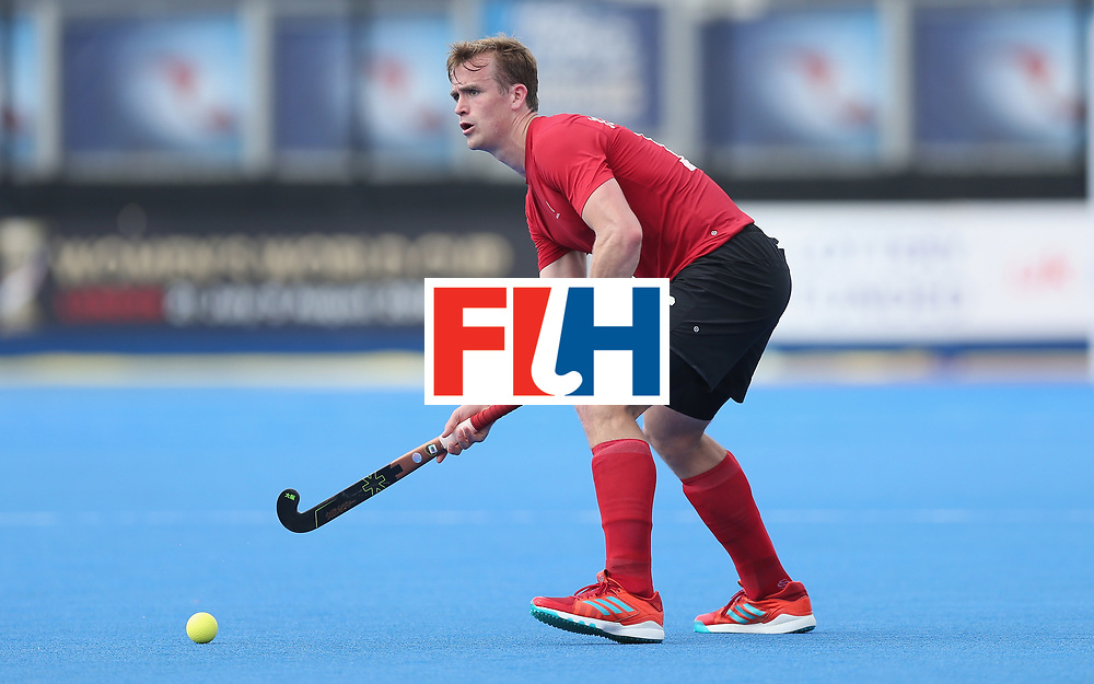 LONDON, ENGLAND - JUNE 17:  Gordan Johnston of Canada during the Hero Hockey World League semi final match between Canada and India at Lee Valley Hockey and Tennis Centre on June 17, 2017 in London, England.  (Photo by Alex Morton/Getty Images)