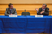 02 JULY 2012 - PARADISE VALLEY, AZ:  Congressmen BEN QUAYLE, son of former Vice President Dan Quayle, left, and DAVID SCHWEIKERT at a Republican candidate forum in Paradise Valley Monday. Schweikert and Quayle, both conservative freshmen Republican Congressmen from neighboring districts are facing each other in an August primary to see which one will represent Arizona's 6th Congressional District in 2013. The two were thrown into the same district as a result of legislative redistricting.  PHOTO BY JACK KURTZ