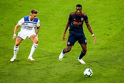 Geoffrey Kondogbia of Valencia takes on James Maddison of Leicester City - Mandatory by-line: Robbie Stephenson/JMP - 01/08/2018 - FOOTBALL - King Power Stadium - Leicester, England - Leicester City v Valencia - Pre-season friendly