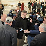 2/7/11 -- BRUNSWICK, Maine.  Newspeople interview Maine Governor Paul LePage at NAS Brunswick on Monday The U. S. Navy passed Hangar 6 over to the Midcoast Regional Redevelopment Authority today in a ceremony attended by Maine Governor Paul LePage, Congresswoman Chellie Pingree and a host of other members of local and state government. Roger S. Duncan Photo / For The Forecaster