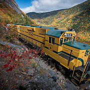 The Conway Scenic Railroad Notch Trail travels through scenic Crawford Notch during peak foliage season.
