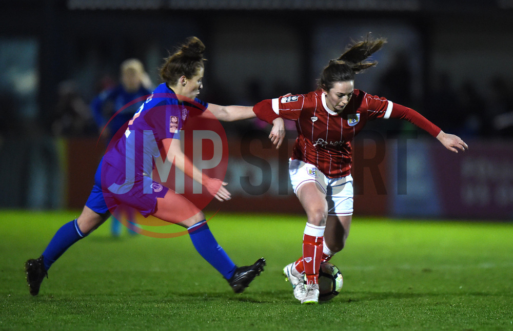Chloe Arthur of Bristol City Women battles with Angharad James of Everton Ladies - Mandatory by-line: Paul Knight/JMP - 06/01/2018 - FOOTBALL - Stoke Gifford Stadium - Bristol, England - Bristol City Women v Everton Ladies - FA Women's Super League