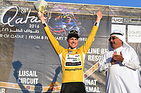 Podium, BOASSON HAGEN Edvald (NOR) Dimension Data,, Yellow Gold Leader Jersey, during the 15th Tour of Qatar 2016, Stage 3, Lusail Circuit - Lusail Circuit (11,4Km)/ Time Trial, on February 10, 2016 - Photo Tim de Waele / DPPI