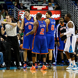 December 3, 2010; New Orleans, LA, USA; New York Knicks head coach Mike D'Antoni reacts as forward Danilo Gallinari, of Italy, (8) is called for a technical foul during the second half of a game against the New Orleans Hornets at the New Orleans Arena. The Knicks defeated the Hornets 100-92. Mandatory Credit: Derick E. Hingle
