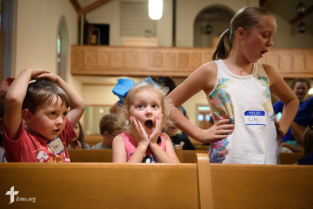 Children in Camp Courage VBS sing at Zion Lutheran Church on Thursday, July 13, 2017, in Ottawa, Ill. The VBS resource is available from LCMS Disaster Response.  LCMS Communications/Erik M. Lunsford