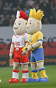 POZNAN 17/11/2010.FOOTBALL INTERNATIONAL FRIENDLY.POLAND v IVORY COAST.Mascot brothers, one wearing Ukraine's national blue and yellow colors, the other Poland's white and red, are presented at the stadium in Poznan.Fot: Piotr Hawalej / WROFOTO