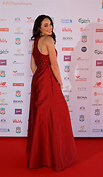 LIVERPOOL, ENGLAND - Tuesday, May 9, 2017: Soprano Laura Wright arrives on the red carpet for the Liverpool FC Players' Awards 2017 at Anfield. (Pic by David Rawcliffe/Propaganda)