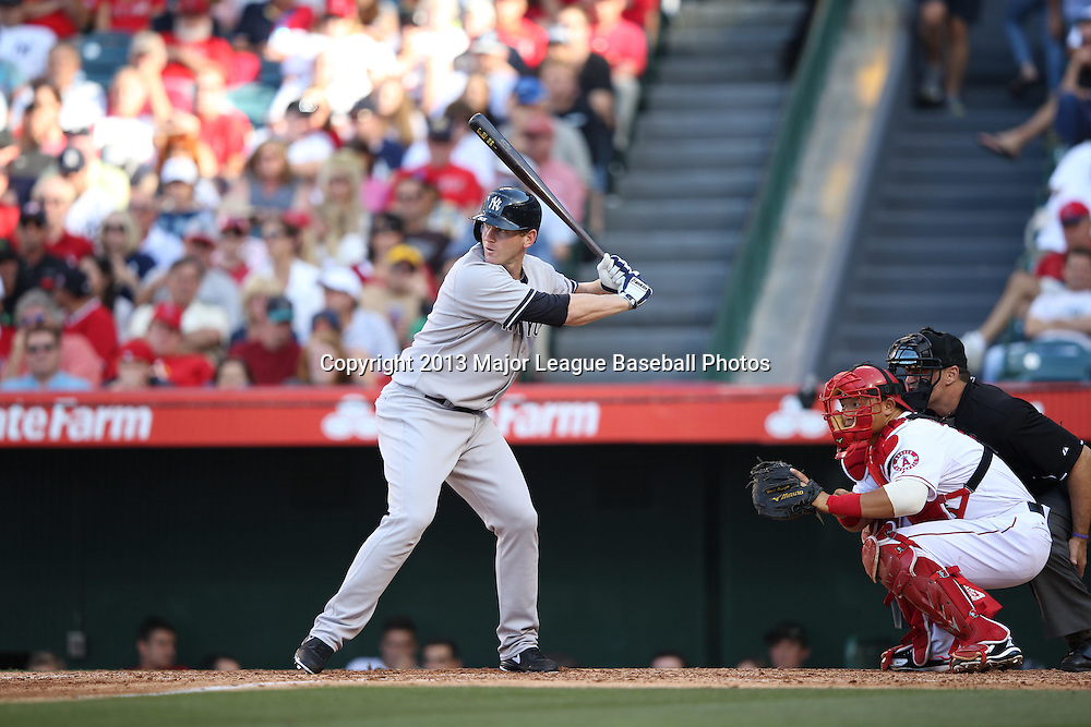 ANAHEIM, CA - JUNE 15:  Lyle Overbay #55 of the New York Yankees bats during the game against the Los Angeles Angels of Anaheim on Saturday, June 15, 2013 at Angel Stadium in Anaheim, California. The Angels won the game 6-2. (Photo by Paul Spinelli/MLB Photos via Getty Images) *** Local Caption *** Lyle Overbay