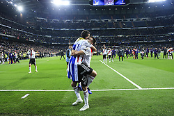 December 9, 2018 - Madrid, Spain - River Plate players celebrating the victory 3-1 against Boca Junior during the CONMEBOL Copa Libertadores second leg final between River Plate against Boca Juniors at Santiago Bernabeu Stadium. (Credit Image: © Xavier Bonilla/NurPhoto via ZUMA Press)