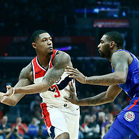 09 December 2017: LA Clippers guard Sindarius Thornwell (0) defends on Washington Wizards guard Bradley Beal (3) during the LA Clippers 113-112 victory over the Washington Wizards, at the Staples Center, Los Angeles, California, USA.