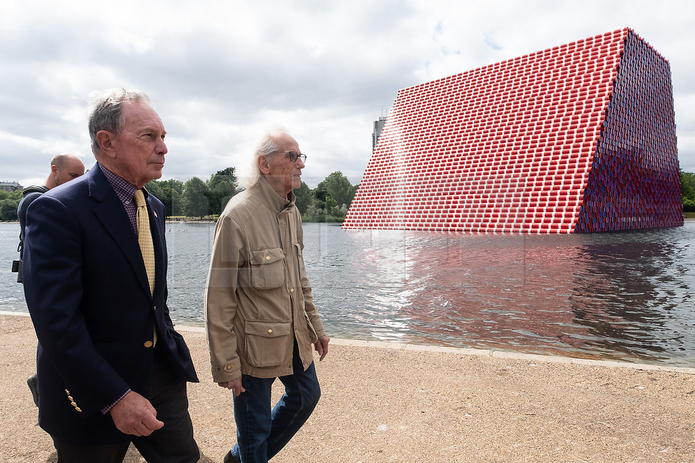 © Licensed to London News Pictures. 18/06/2018. London, UK. Michael Bloomberg and artist Christo presents his floating installation titled The Mastaba in The Serpentine lake at a photocall. Photo credit: Ray Tang/LNP