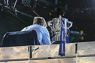 The Capital One Cup sits in the Television Studio before the Capital One Cup Semi-Final 1st Leg match between Tottenham Hotspur and Sheffield Utd at White Hart Lane, London, England on 21 January 2015. Photo by David Horn.