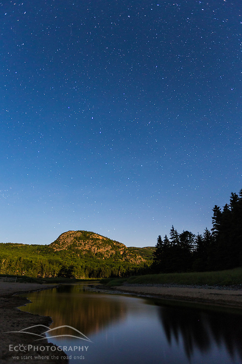 "The Big Dipper constellation over ""The Beehive"" in Maine's Acadia National Park."
