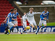 Dundee&rsquo;s Craig Wighton takes on the St Johnstone trio of Danny Swanson, Liam Craig and Murrya Davidson - St Johnstone v Dundee, Ladbrokes Scottish Premiership at McDiarmid Park, Perth. Photo: David Young<br /> <br />  - &copy; David Young - www.davidyoungphoto.co.uk - email: davidyoungphoto@gmail.com