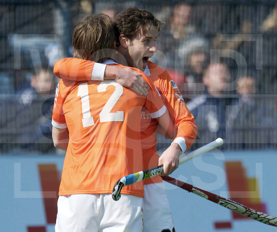 Amstelveen - Euro Hockey league KO16.HC Bloemendaal - Club de Campo de Madrid.foto: Rogier Hofman scores the 4-1..FFU PRESS AGENCY COPYRIGHT FRANK UIJLENBROEK.