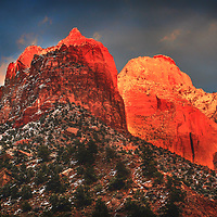 Winter sunset on the temples of Zion National Park, Utah.