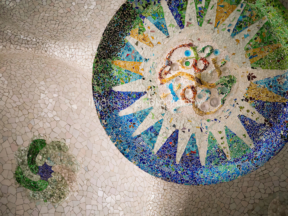 The mosaic ceiling of Park Guell, desinged by architect Gaudi, in Barcelona, Spain.