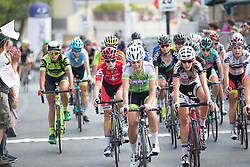A bigger group crosses the finish line on Stage 8 of the Giro Rosa - a 141.8 km road race, between Baronissi and Centola fraz. Palinuro on July 7, 2017, in Salerno, Italy. (Photo by Balint Hamvas/Velofocus.com)