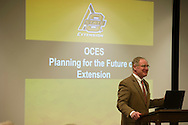 Burns Hargis, Oklahoma State University President, addresses Extension staff regarding future funding challenges. State House Representative, Leslie Osborn, also spoke regarding the state's budget.