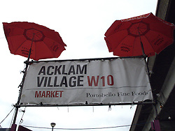 UK ENGLAND LONDON 20JUL13 - Umbrellas over Acklam Village market sign at Portobello Market, west London.<br /> <br /> <br /> <br /> jre/Photo by Jiri Rezac<br /> <br /> <br /> <br /> © Jiri Rezac 2013