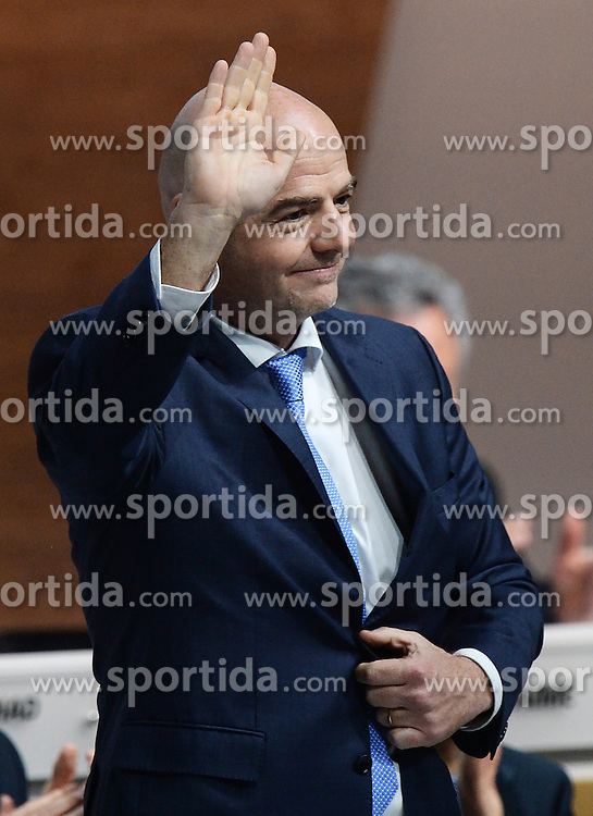 26.02.2016, Zürcher Hallenstadion, Zuerich, SUI, FIFA Kongress und Präsidentenwahl, im Bild Gianni Infantino (SUI) is elected new FIFA President at the FIFA congress in Zurich // during the extraordinary FIFA congress. Delegates of the soccer body FIFA meet to elect a new president at the Zürcher Hallenstadion in Zuerich, Switzerland on 2016/02/26. EXPA Pictures © 2016, PhotoCredit: EXPA/ Freshfocus/ Steffen Schmidt<br /> <br /> *****ATTENTION - for AUT, SLO, CRO, SRB, BIH, MAZ only*****