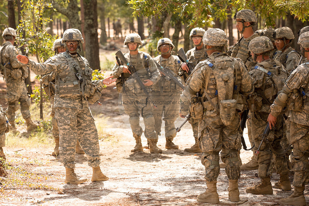 A woman Drill Sergeant instructs her recruits during basic combat training at Fort Jackson September 27, 2013 in Columbia, SC. While 14 percent of the Army is women soldiers there is a shortage of female Drill Sergeants.