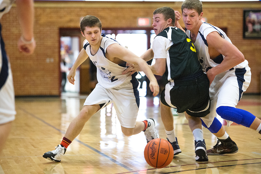 GABE GREEN/Press<br /> <br /> Nick Hall of Post Falls goes after a loose ball Saturday during the second half of the boys Idaho all-star game at North Idaho College.