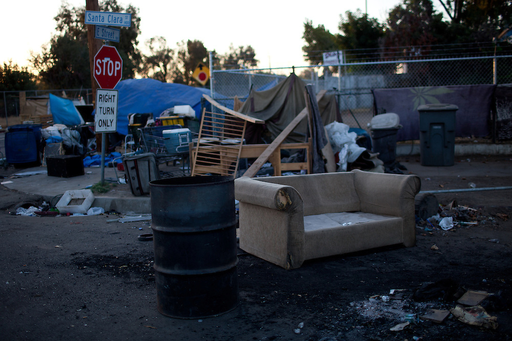 A homeless encampment in Fresno, Calif., September 24, 2012.